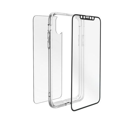 Cygnet Electronics Acc 360° Bundle Glass Front/Back Screen Protector with Bumper for iPhone XS, X