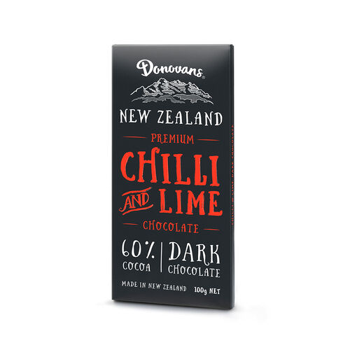Donovans Chocolate Chilli & Lime Dark Chocolate Bar 100g