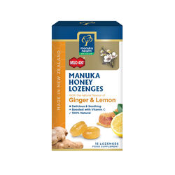 Manuka Health Manuka Honey Lozenges Ginger & Lemon 15 Pack