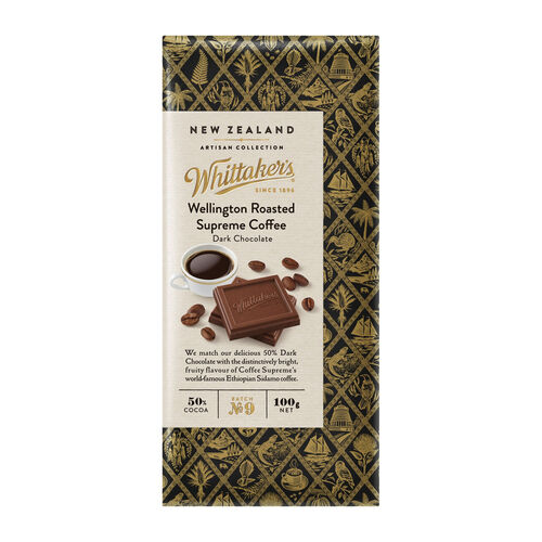 Whittakers Wellington Roasted SupremeCoffee DarkChoc 100g